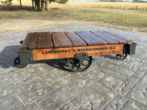 Linebery Factory Cart Railroad Cart Coffee Table Etsy In 2019 Coffee Table Furniture Cart Coffee Table Garden Coffee Table