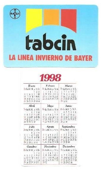 1998 Calendario.Capricho Argentina 1998 Tabcin Pocket Calendar Haliotis94