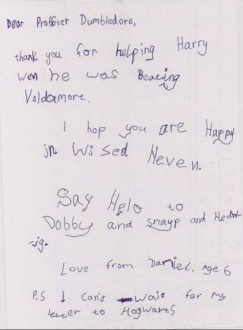 thank you note to professor dumbledore All things Harry - thank you letter to professor