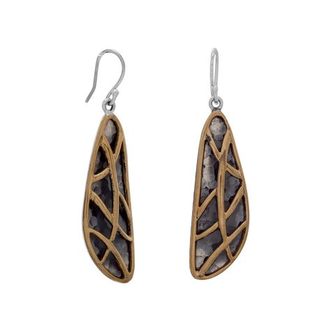 Two Tone Abstract Earrings Products Sterling