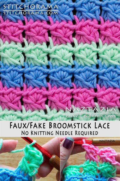 How to Crochet Faux Fake Broomstick Lace without a Knitting Neeedle DIY Tutorial. - Crochet Clothing and Accessories Crochet Afghans, Crochet Stitches Patterns, Tunisian Crochet, Crochet Motif, Crochet Yarn, Crochet Hooks, Free Crochet, Knitting Patterns, Cross Stitches