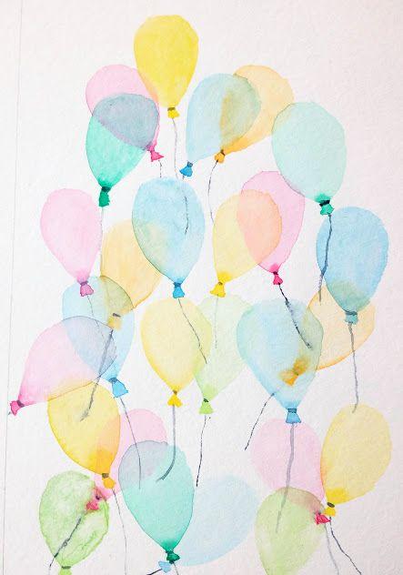 Carte D Anniversaire Des Ballons A L Aquarelle Peinture