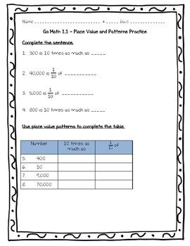Go Math Practice 5th Grade 1 1 Place Value And Patterns Worksheet Freebie Math Practices Go Math Math Books
