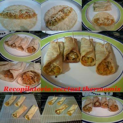 Recopilatorio de recetas : Fajitas rellenas de verduritas y cerdo con queso en thermomix