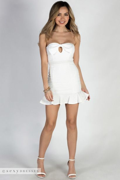 White Strapless Bow Front Mini Dress