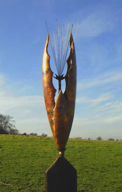 Copper/wooden plinth Garden Or Yard / Outside and Outdoor sculpture