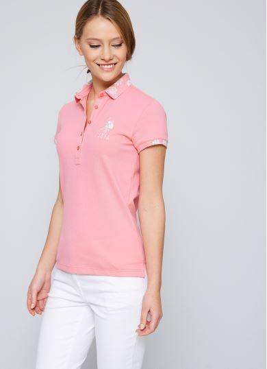 Pembe Kisa Kol Polo Yaka Slim Basic T Shirt Kadin Polo Kiyafet