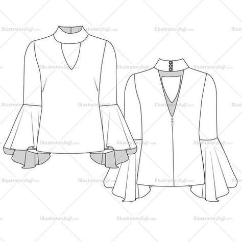 Fashion Drawings Women's flared sleeve Blouse Fashion Flat Vector Templates front and back detail sketch. It also includes decorative invisible zipper pull. Its easy to modify and use.