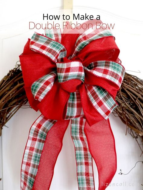 How To Make A Double Ribbon Bow For A Wreath — Liz on Call - - If one is good, 2 is better! See how these 2 ribbons come together to make a Double Ribbon Bow For A Wreath. Diy Bow, Diy Ribbon, Ribbon Crafts, Ribbon Bows, Ribbon Hair, Bow From Ribbon, Ribbon Projects, Mesh Ribbon, Ribbon Flower