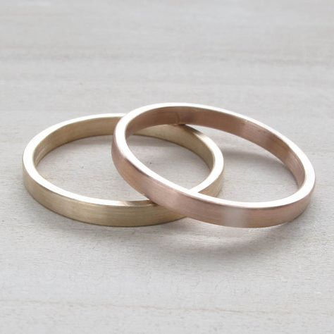 Hers And Hers Wedding Band Set Lesbian Wedding 2x1mm Flat