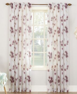 Bimini Textured Floral Sheer Voile Curtain 51 X 95 Panel Voile