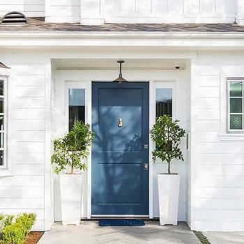 Blue Front Door With Tall White Planters With Images Painted