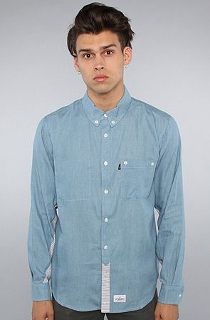 The Star and Skull Denim Buttondown Shirt in Blue by 11 After 11