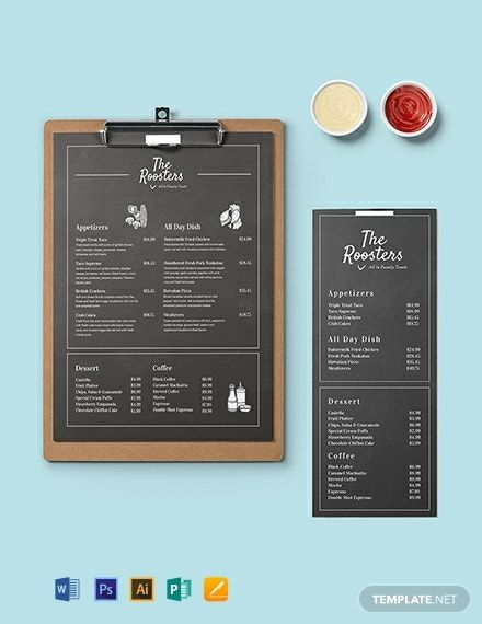 Chalkboard Menu Card Template Word Doc Psd Apple Mac Pages Publisher Illustrator In 2020 Menu Card Template Menu Card Design Menu Cards