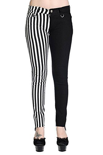 09438a27eae5 Women's Banned Half White Striped Half Black Emo Punk Skinny Split Pants  Trousers at Amazon Women's Clothing store: