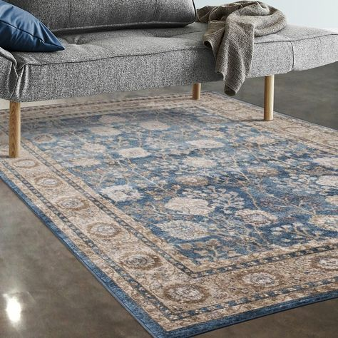 Allstar Rugs Blue And Beige Persian Rectangular Accent Area Rug With Ivory Highlights 7 5 X 9 8 Classic Rugs Area Rugs Online Home Decor Stores