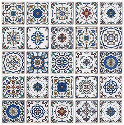 Amazon Com Fam Sticktiles Peel And Stick Backsplash Tiles Premium Mexican Talavera Tiles Ki Wall Stickers Wallpaper Stick Tile Backsplash Stick On Wall Tiles