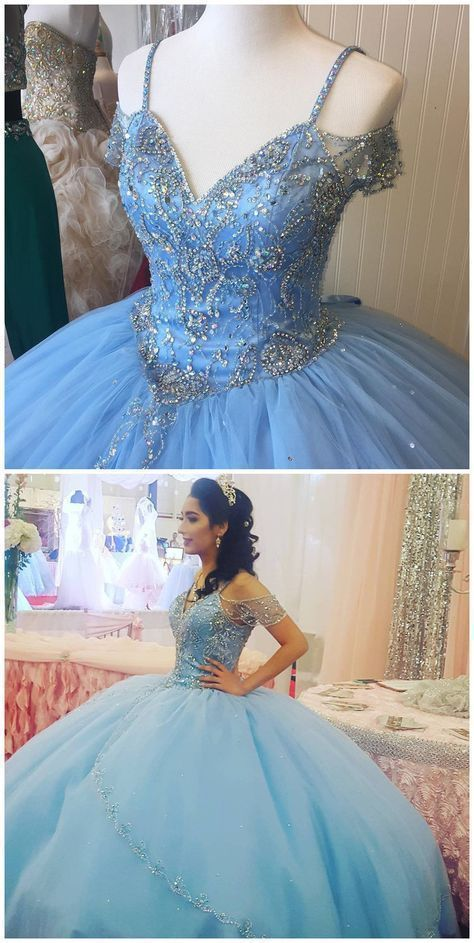 Blue Spaghetti Straps Tulle Ball Gown Prom Dress, Sparkly Beaded Quinceanera Dress, Sweet 16 Prom Dresses