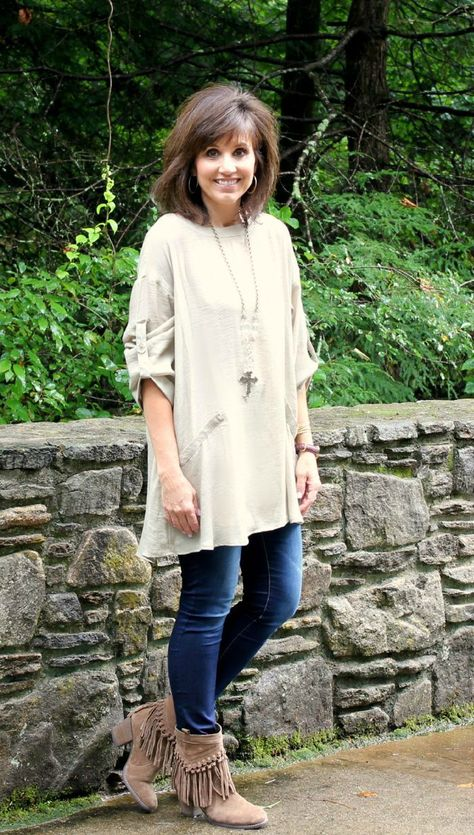 26 Days of Fall Fashion (Day - Cyndi Spivey : Love to style a tunic with fringe boots and skinny jeans for fall fashion.