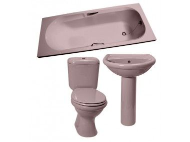 Coral Pink Dual Top Flush Toilet Set With Basin Pedestal Coral