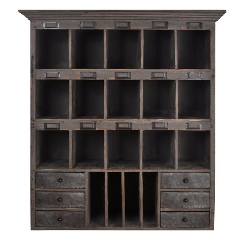 Amazon Com Distressed Wood Cabinet With Cubbies Drawers