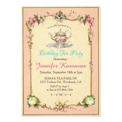 Vintage Tea Party Birthday Invitation