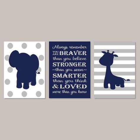 Elephant Nursery Art, Prints Or Canvas, Boy Nursery Decor, Jungle Animals, Elephant Nursery Print, Navy Gray Nursery Safari Nursery Set of 3
