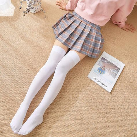 1 Pair Fashion Thigh High Over Knee High Socks Girls Womens Solid Sexy Socks Black White High Quality Stockings Thigh High Outfits, Thigh High Socks Outfit, Knee High Socks Outfit, White Thigh High Socks, High Socks Outfits, Thigh Socks, Long White Socks, Over Knee Socks, Outfits Kawaii
