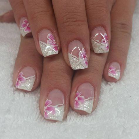 Fingernagel Gelnagel Frenchnails Weiss Glitzer One Stroke Naturnagel Naildesigns Carmenirmscher Glitter French Nails Gel Nails Natural Nails