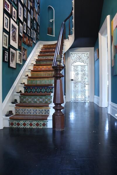 Our Favorite Creative Entryways and Staircases - dream house ideas decor ideas stairways Tiled Staircase, Metal Stairs, Painted Stairs, Staircase Design, Tile Stairs, Staircase Ideas, Hallway Ideas, Mosaic Stairs, Spiral Staircases