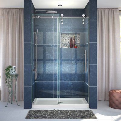 Vinesse 47 X 76 Single Sliding Fixed Panel Shower Door Shower