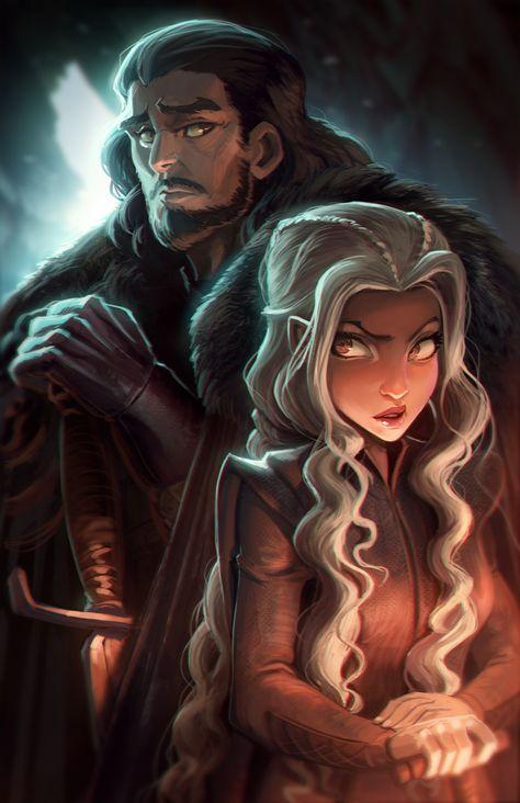 Danerys And Jon Snow Colin Searle Got Anime Desenho Fogo E Gelo