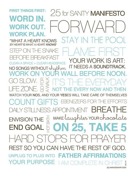 A Life Plan When YouRe Overwhelmed Sanity Manifesto Printable