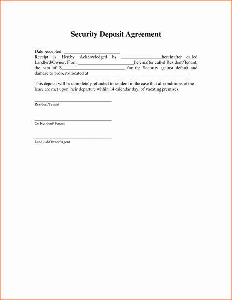 Non Refundable Deposit Form Template Unique 11 Security Deposit