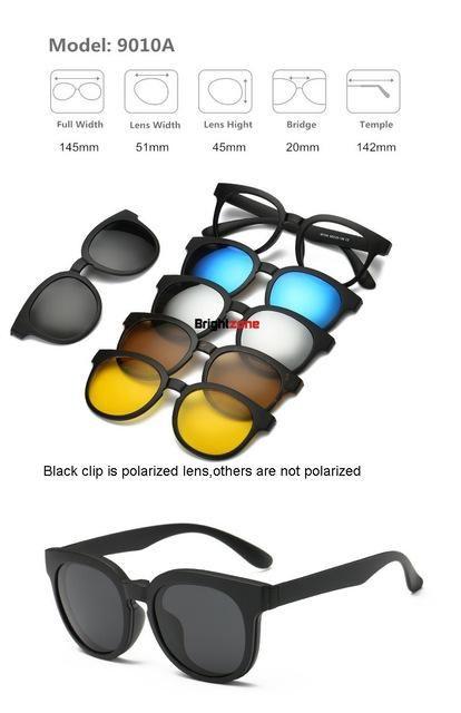 711856ca226 Brightzone Vintage 5 +1 Set Glasses Women Men Mirror Polarized Sunglasses  Clip-on Make Prescription Myopia Hyperopia Astigmatism
