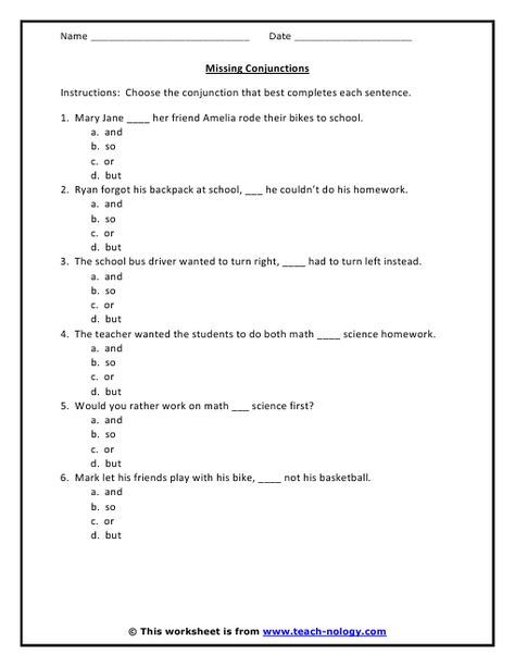 Conjunction Worksheet 6 Problems With Answer Key Conjunctions