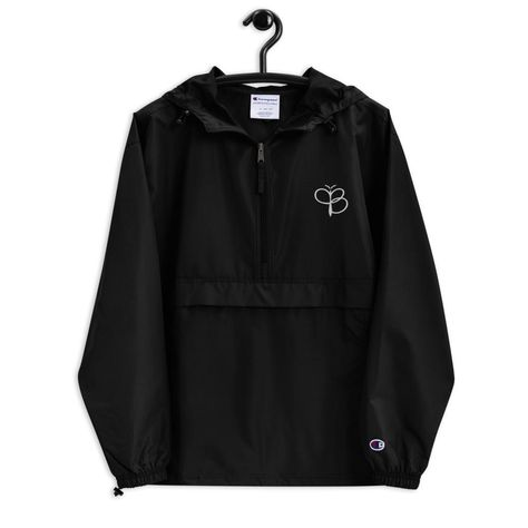 Paris Emblem Embroidered Champion Packable Unisex Jacket - Black / S