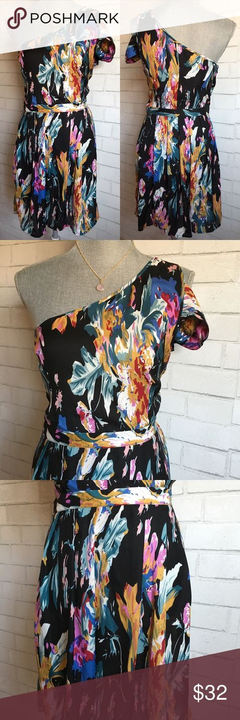 Reformed One Shoulder Dress Black Floral Pleated Reformed from Urban Outfitters Retails $78  Super chic dress! Love the sexy one shoulder detail! The floral print pops! Perfect for a date night or a cocktail party!  Condition: Excellent Used Condition Size: 6 Measurements: Armpit to armpit: 17