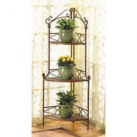 Racks Rustic Corner Bakers Rack Metal Wood Plants Display Shelf
