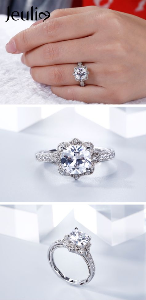 e96f61f7b49999 Vintage Floral Cushion Cut Sterling Silver Ring. Premium Grade Jewelry.  Gift Trend! Mother's Day Gift. / Mom's Day Gift #JeuliaJewelry  #Mothersdaygift # ...