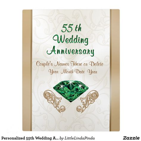 Personalized 55th Wedding Anniversary Gift Ideas Plaque 55th
