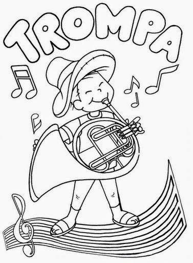 Dibujos Para Colorear Maestra De Infantil Y Primaria Instrumentos De Viento Para Colorear Music Crafts Music For Kids Music Activities