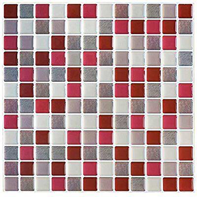 Amazon Com Yoillione 3d Mosaic Tile Sticker Removable Wallpaper Tile Red 3d Self Adhesive Wa Self Adhesive Wall Tiles Mosaic Tile Stickers Kitchen Wall Tiles