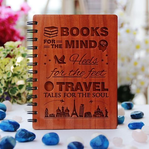Books, heels and travel tales - Personalized Wooden Notebook - Large / Mahogany