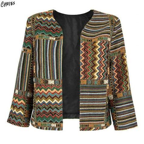 Get Best Price Yellow Slim Geometric Folk Tribal Striped Jacket Coat Outwear Open Front Three Quarter Sleeve Casual 2017 Women Autumn
