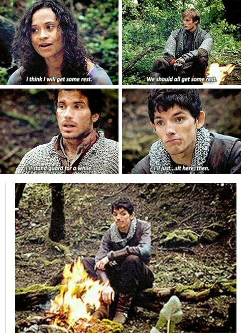 Merlin-the awkward fourth wheel who ships Gwen with Lancelot and Aurther but mainly Aurthur