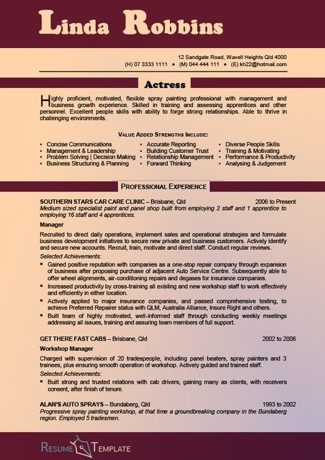 This image presents the nice acting resume template Do you know - workshop manager sample resume