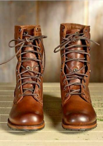Mens Handmade Boots Brown Leather Military High Ankle Combat Formal Shoe Lace Up In 2020 Ankle Combat Boots Brown Military Boots Military Boots