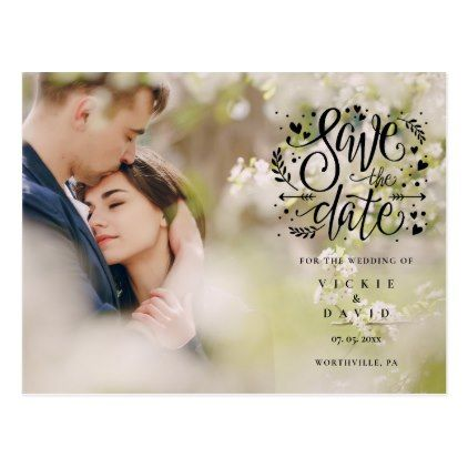 Custom Card Printing Digital File Modern Wedding Announcement Laurel Save-The-Date Postcard Personalized Save the Date Card