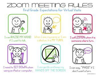 Zoom Meeting Rules Prek 5 Expectations For Virtual Visits Distance Learning Digital Learning Classroom Rules For Kids Distance Learning